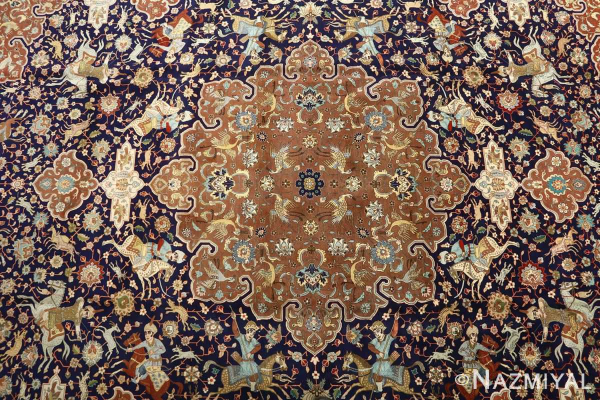 fine heydarzadeh hunting vintage tabriz persian rug 51026 medallion Nazmiyal