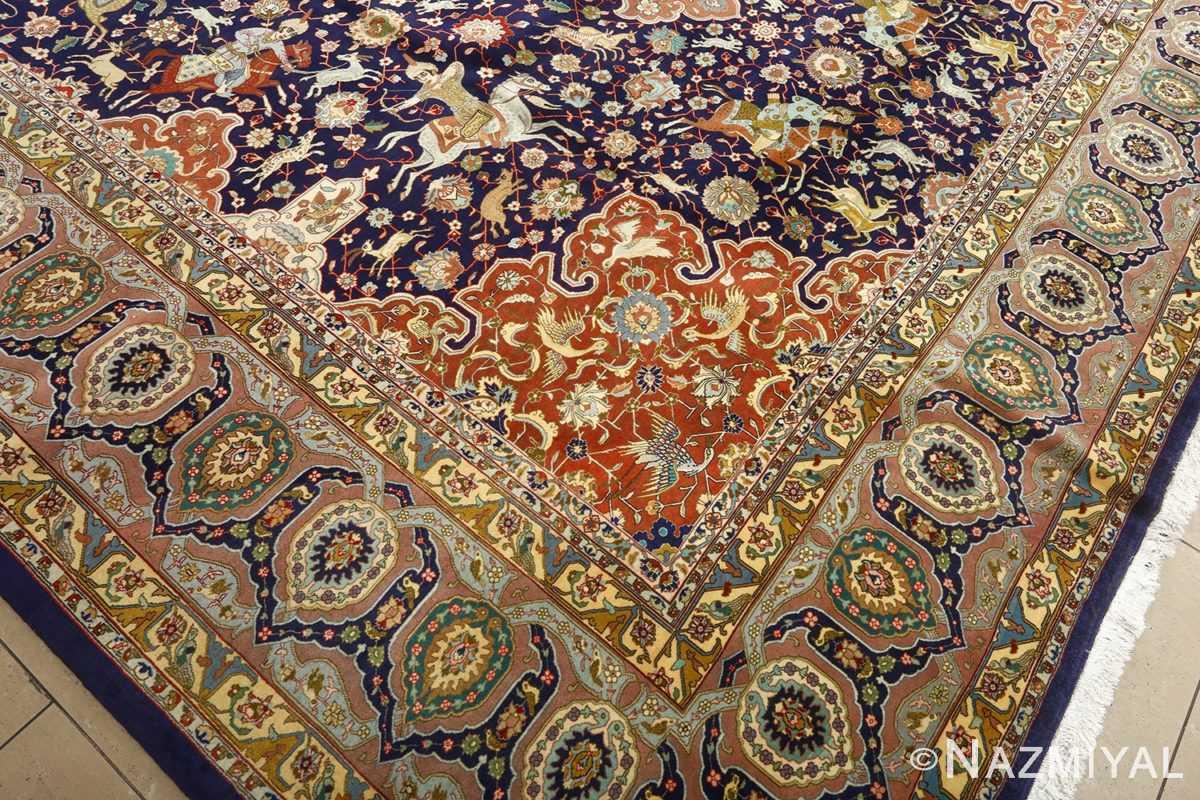 fine heydarzadeh hunting vintage tabriz persian rug 51026 nazmiyal side