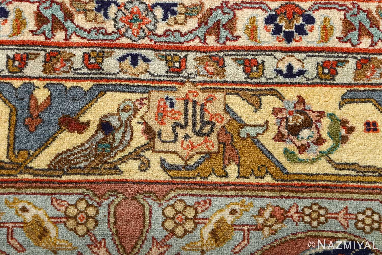 fine heydarzadeh hunting vintage tabriz persian rug 51026 nazmiyal signature