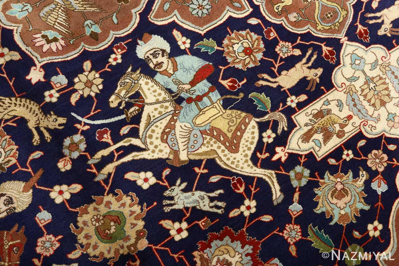 fine heydarzadeh hunting vintage tabriz persian rug 51026 nazmiyal sword