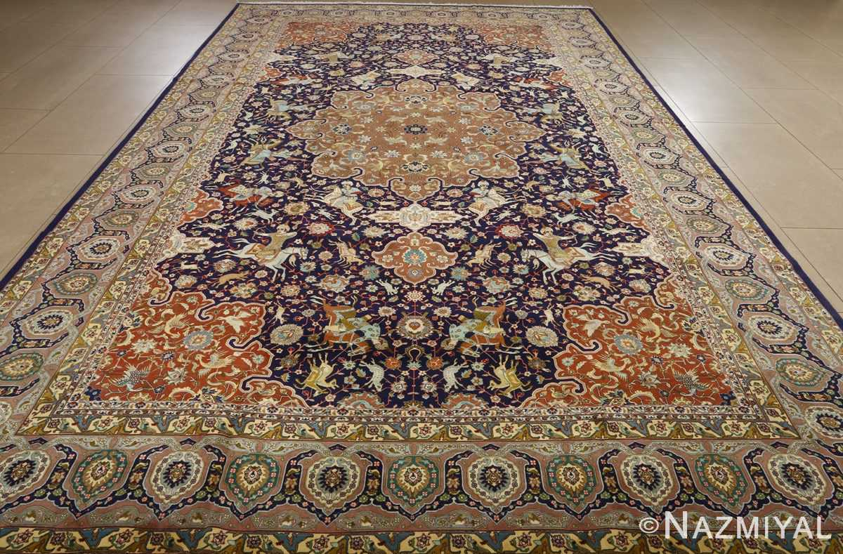 fine heydarzadeh hunting vintage tabriz persian rug 51026 nazmiyal whole