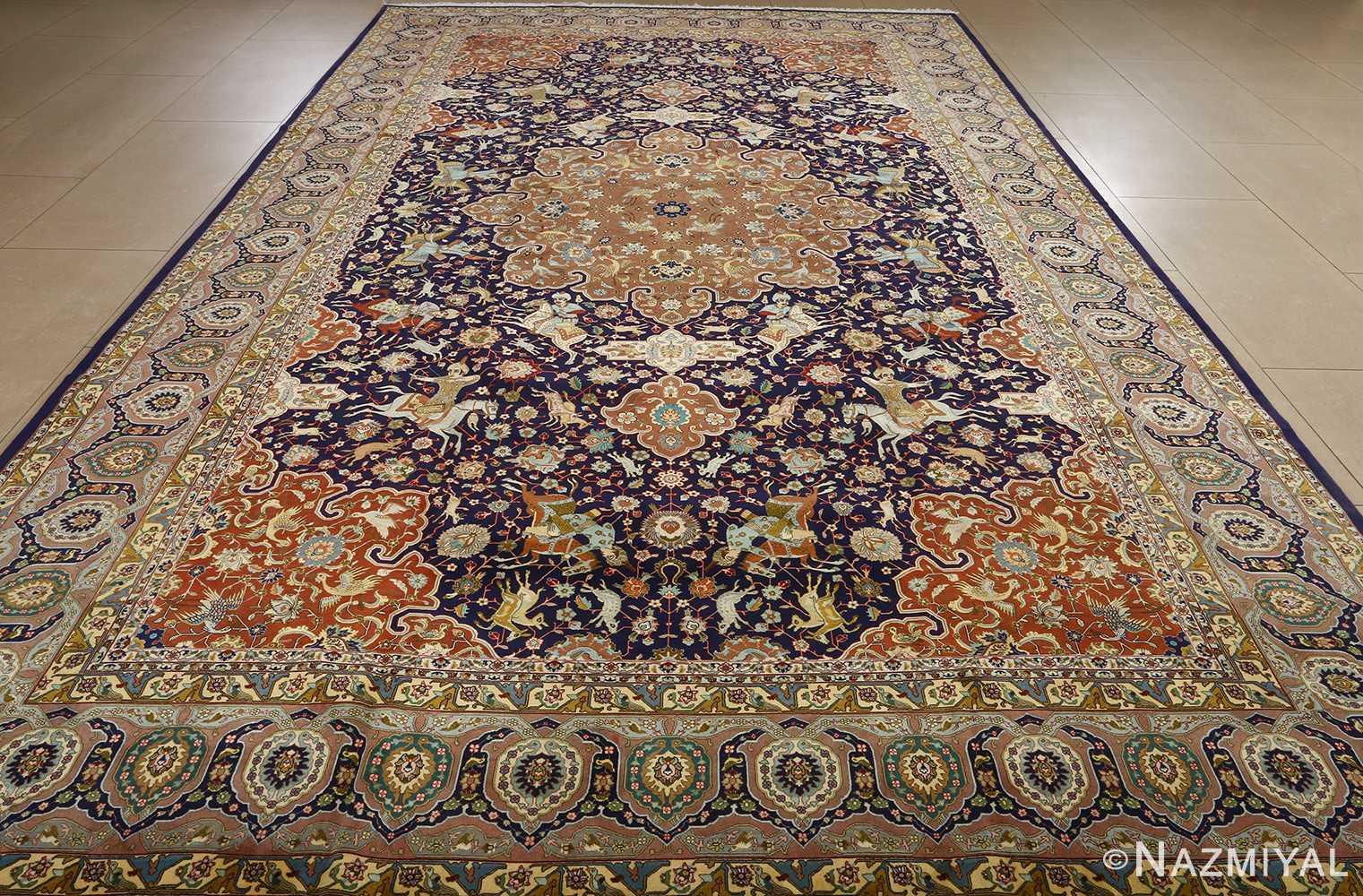 fine heydarzadeh hunting vintage tabriz persian rug 51026 nazmiyal whole