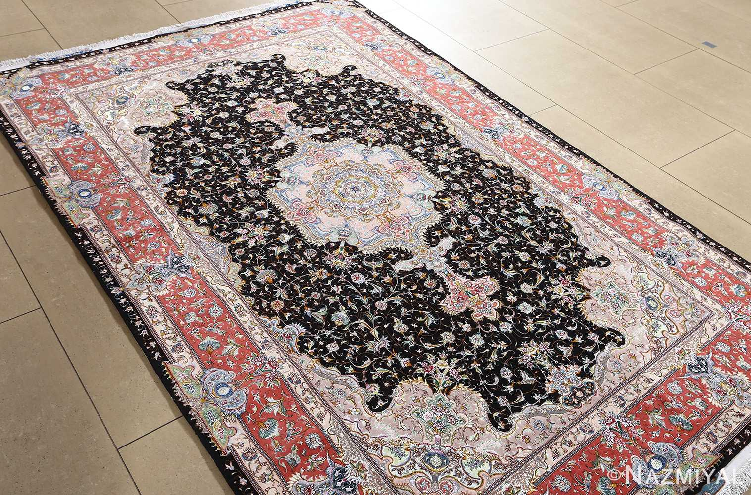fine honarmand silk and wool tabriz persian rug 51004 nazmiyal side