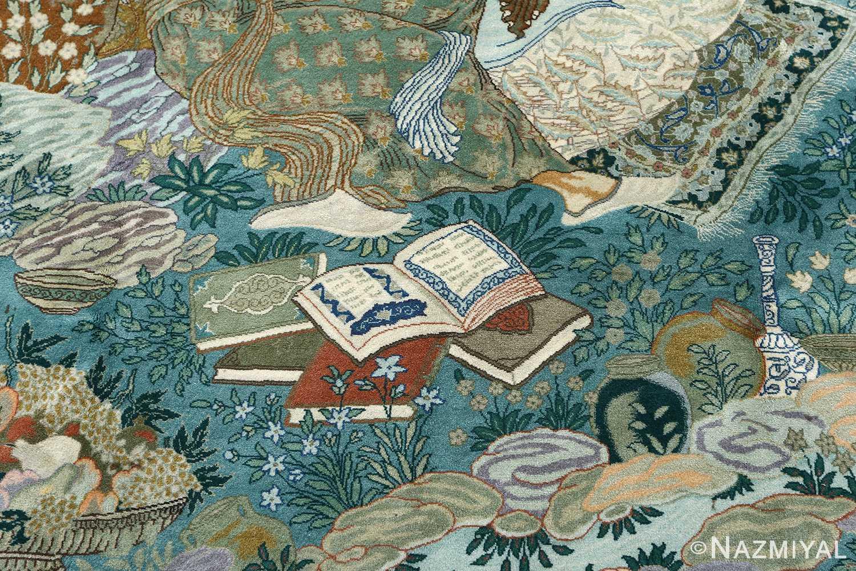 fin pictorial sheikh sannan vintage tabriz persian rug 51027 books Nazmiyal