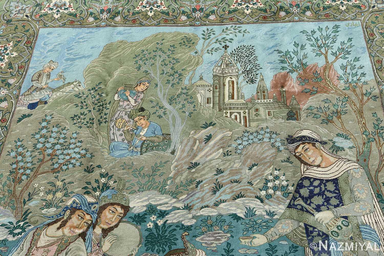 fine pictorial sheikh sannan vintage tabriz persian rug 51027 top Nazmiyal