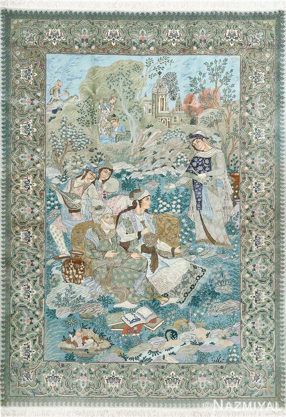 fine pictorial sheikh sannan vintage tabriz persian rug 51027 Nazmiyal