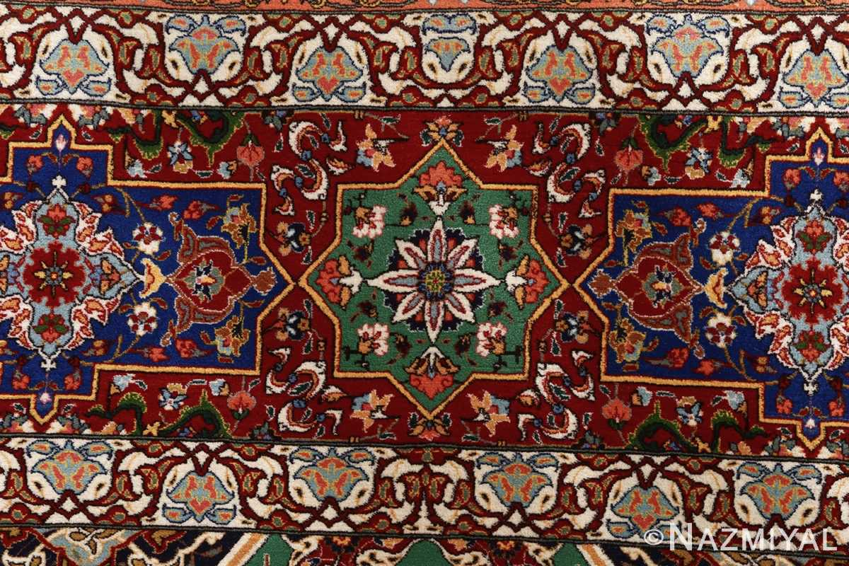 fine seyrafian ghonbad silk foundation tabriz persian rug 51002 nazmiyal border