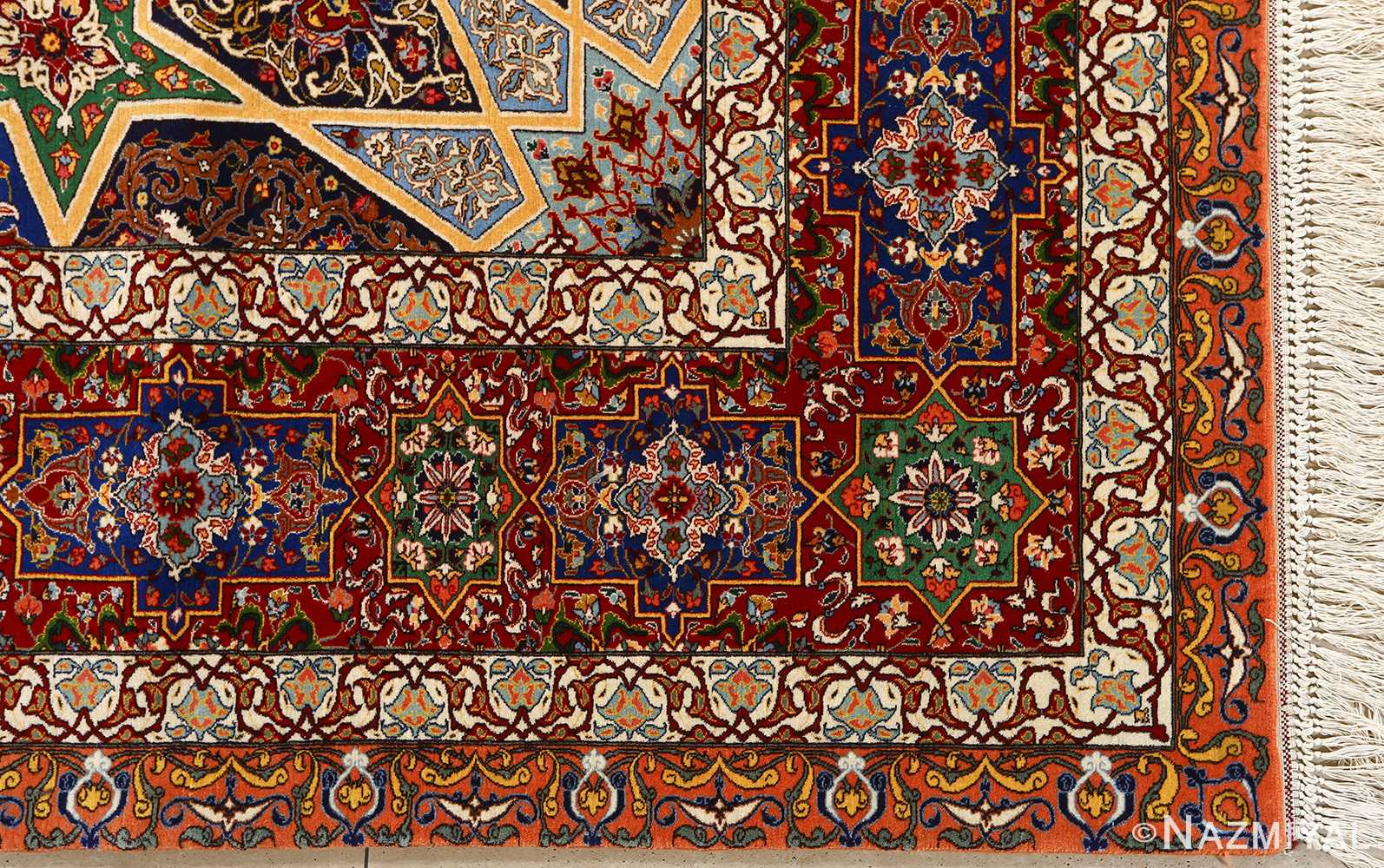 fine seyrafian ghonbad silk foundation tabriz persian rug 51002 nazmiyal corner
