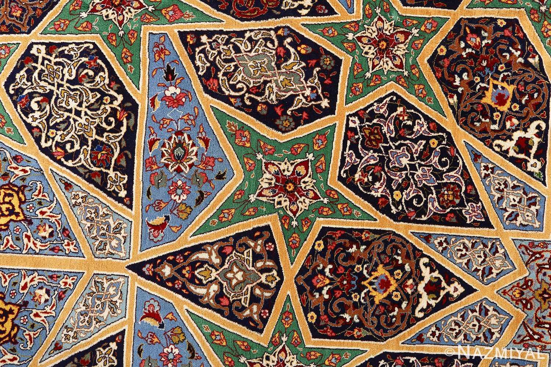 fine seyrafian ghonbad silk foundation tabriz persian rug 51002 nazmiyal detail