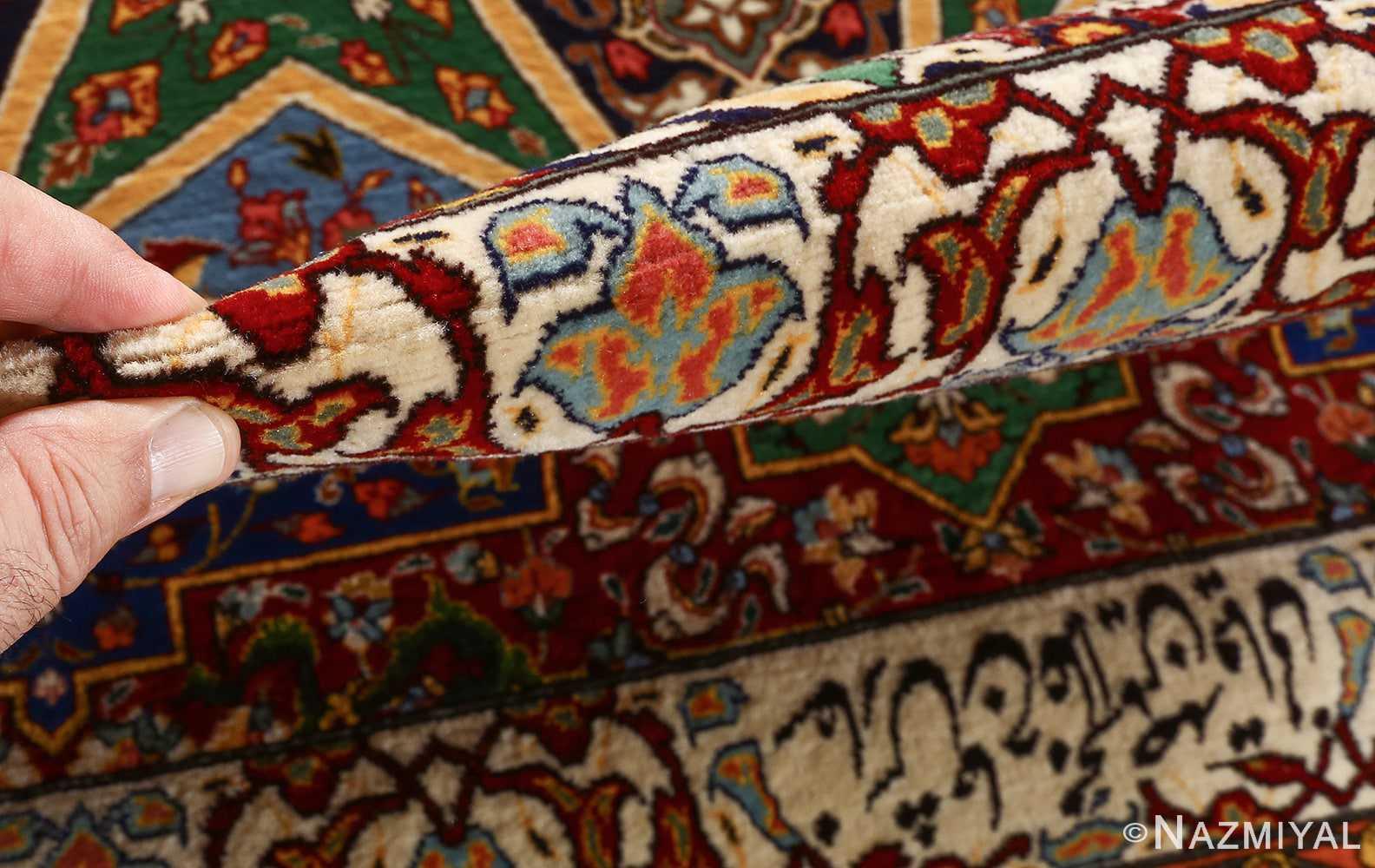 fine seyrafian ghonbad silk foundation tabriz persian rug 51002 nazmiyal pile