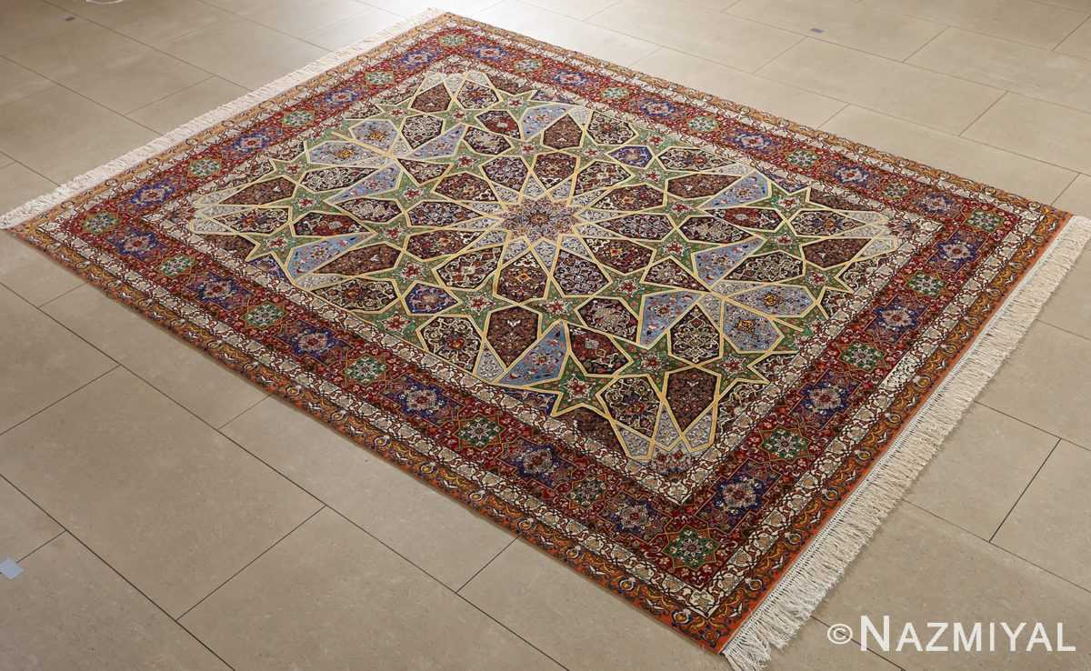 fine seyrafian ghonbad silk foundation tabriz persian rug 51002 nazmiyal side
