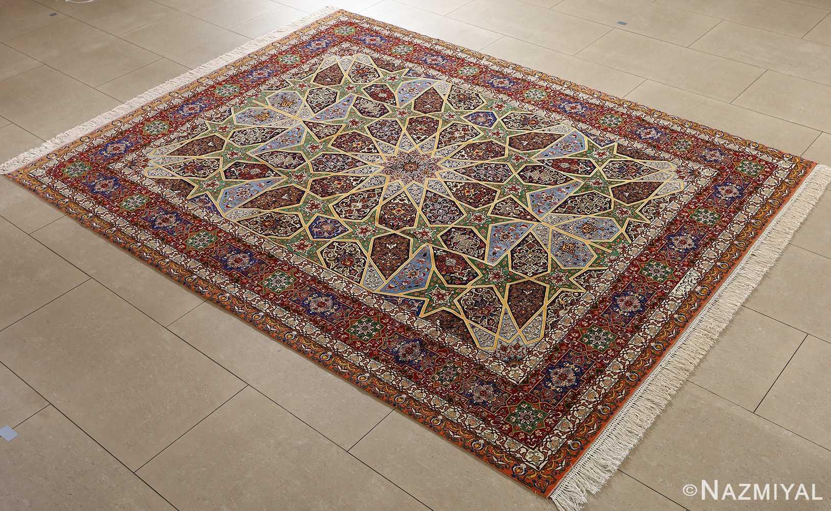 fine seyrafian ghonbad silk foundation tabriz persian rug 51002 nazmiyal side