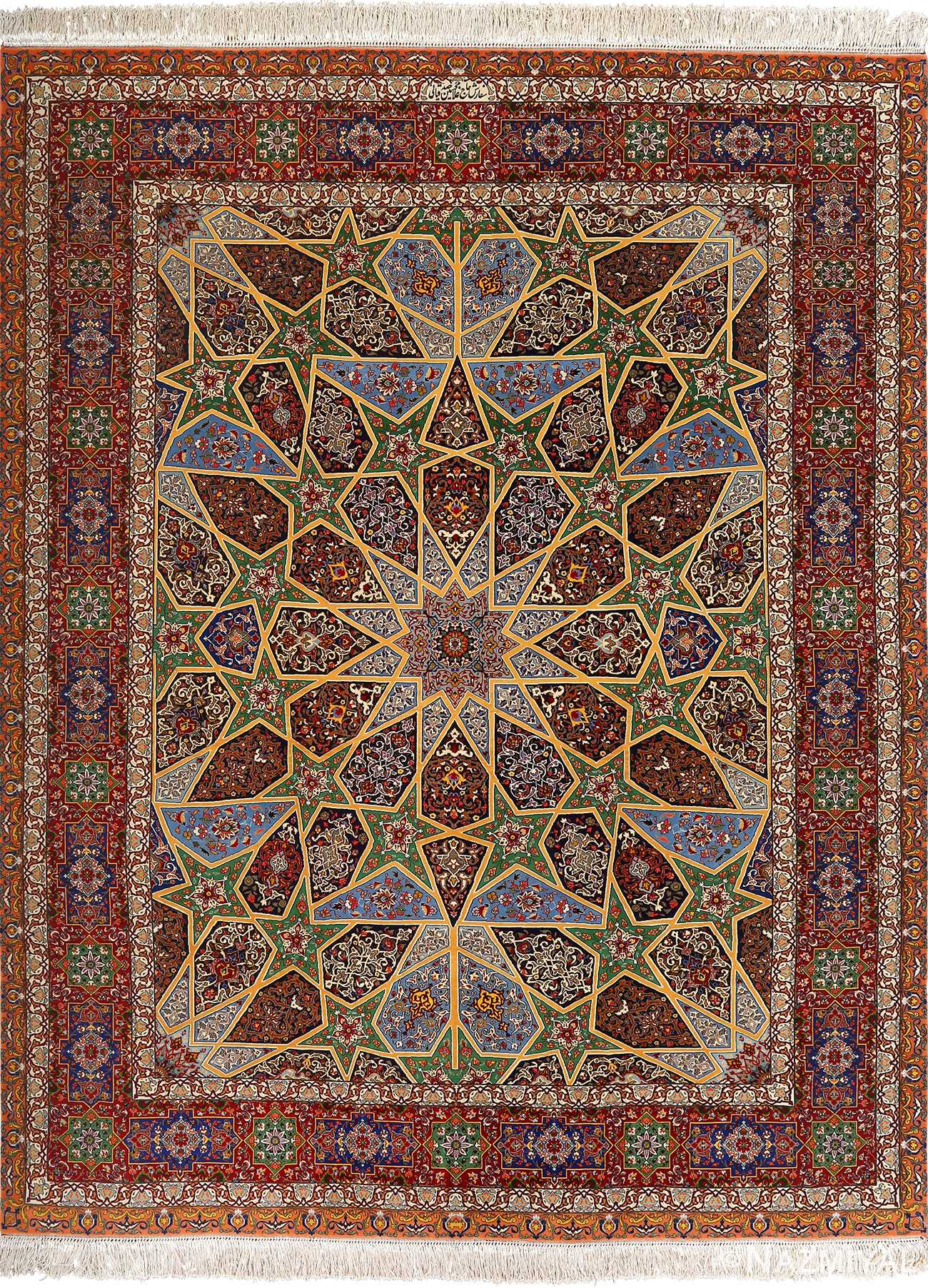 fine seyrafian vintage ghonbad silk foundation tabriz persian rug 51002 by Nazmiyal