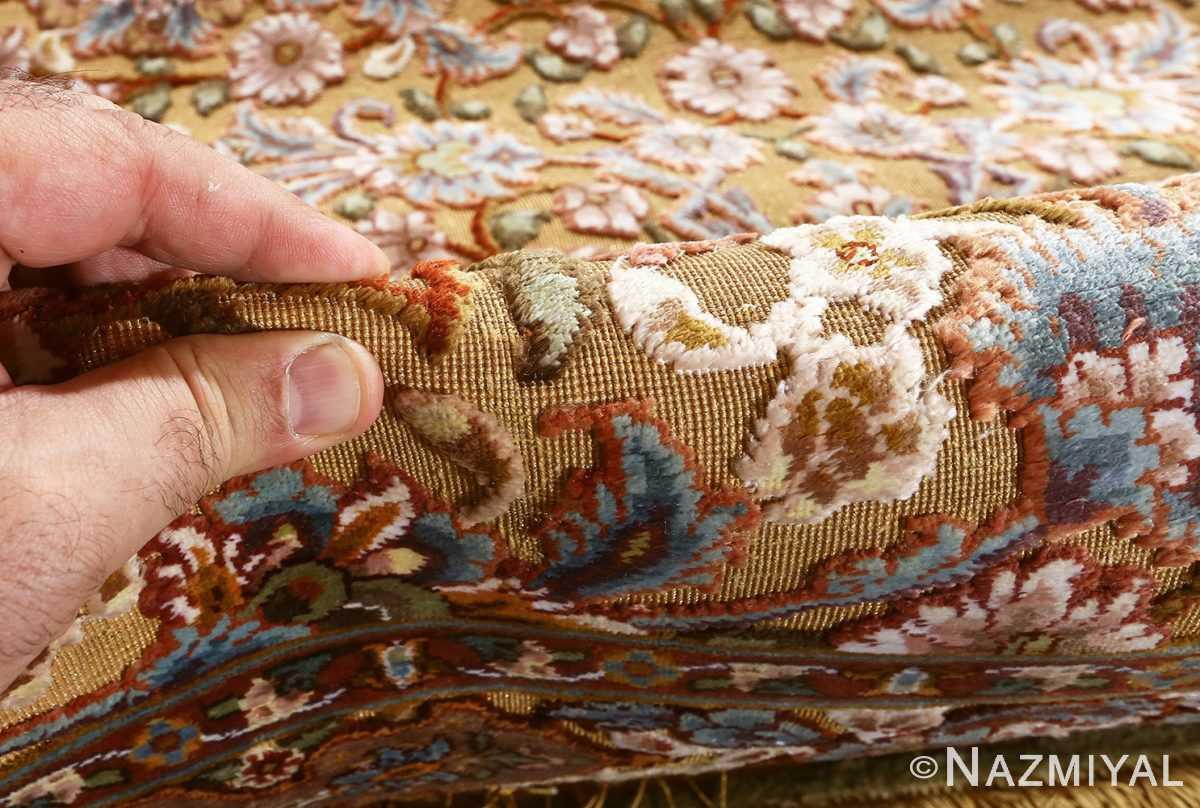fine shahsavarpour silk and metallic thread persian tabriz rug 51000 nazmiyal pile