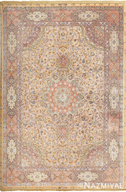 fine shahsavarpour vintage silk and metallic thread persian tabriz rug 51000 Nazmiyal