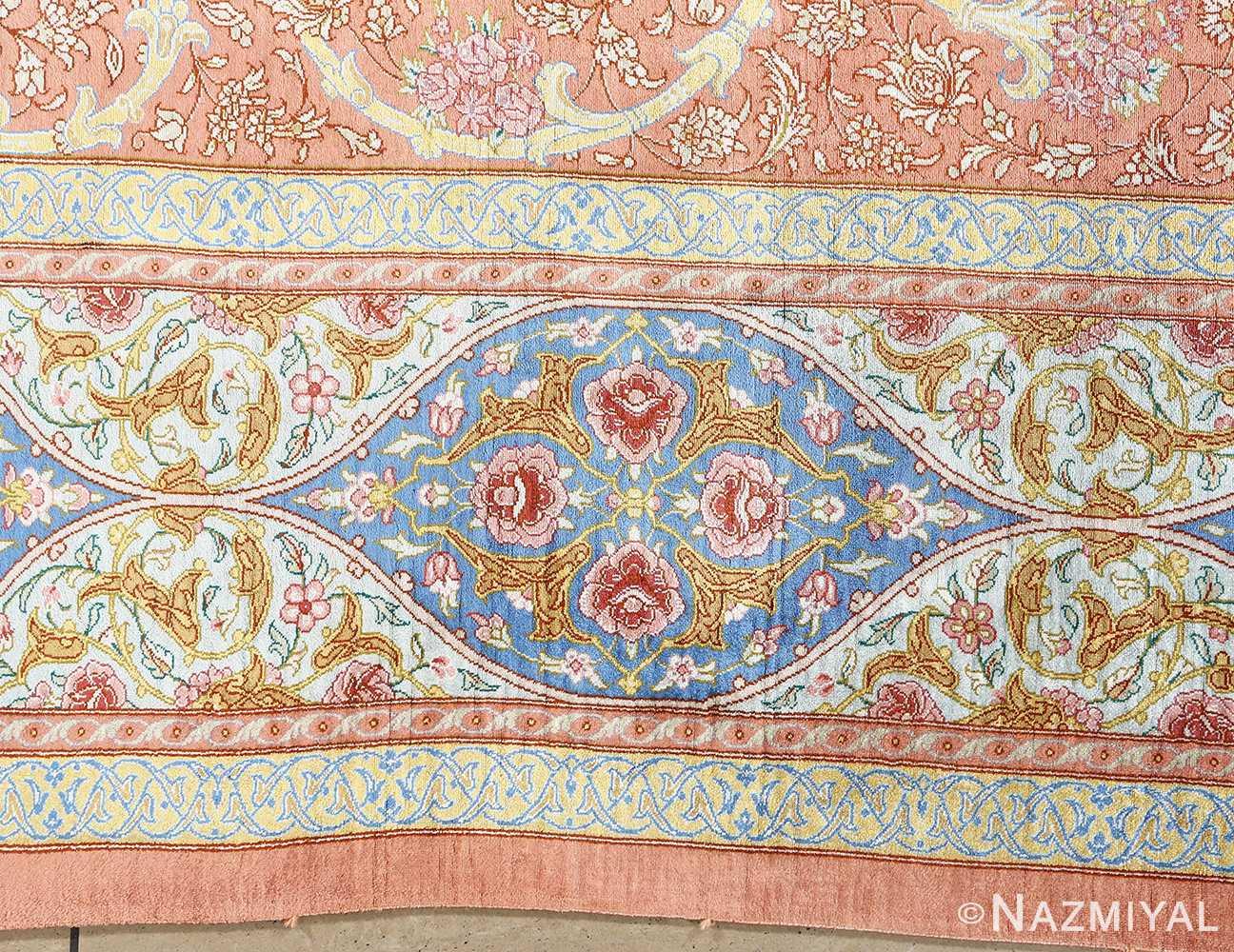 fine silk mirmehdi vintage qom persian rug 51043 border Nazmiyal