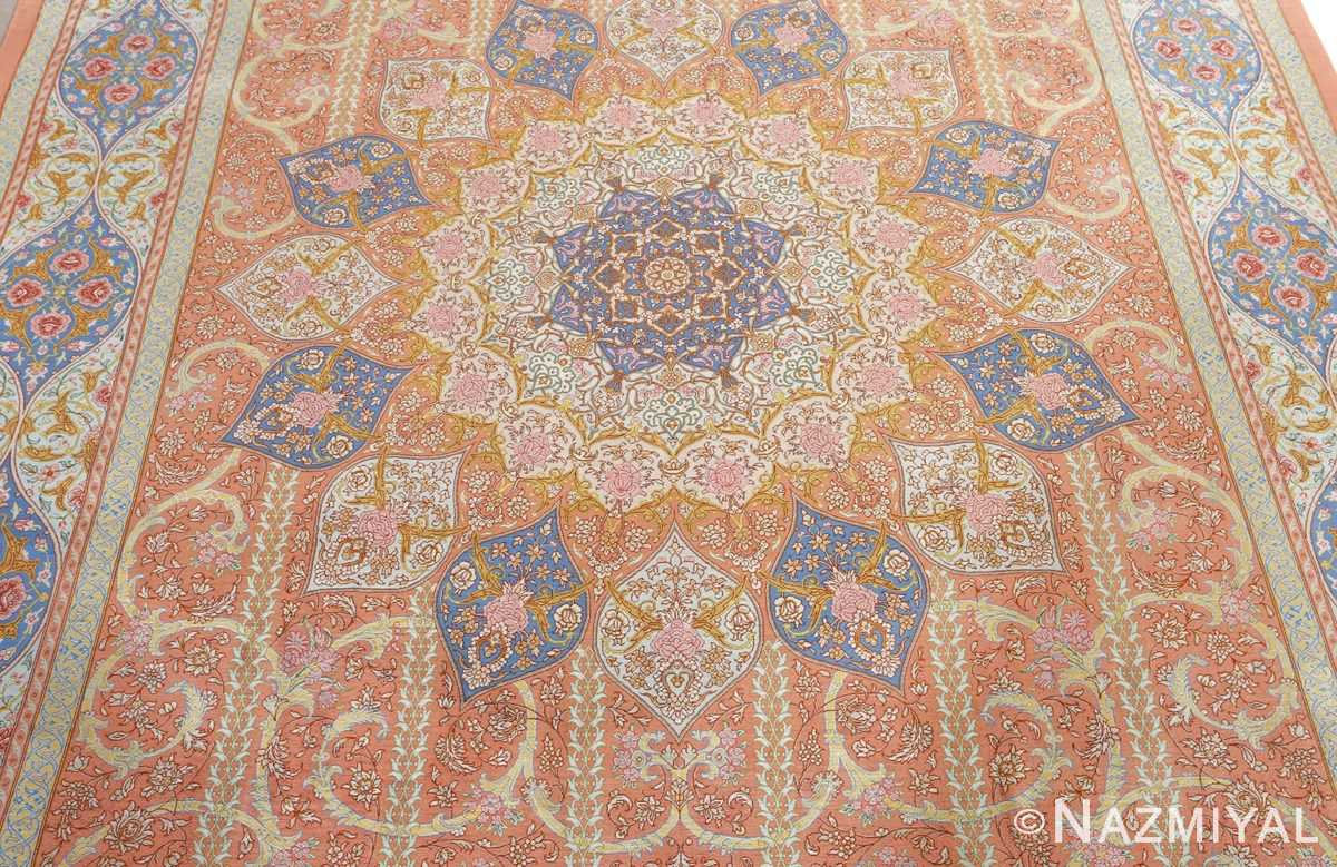fine silk mirmehdi vintage qom persian rug 51043 center Nazmiyal
