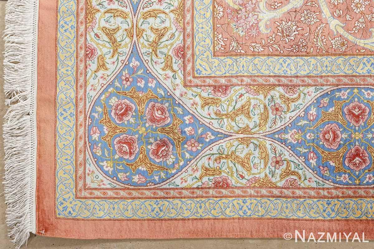 fine silk mirmehdi vintage qom persian rug 51043 corner Nazmiyal
