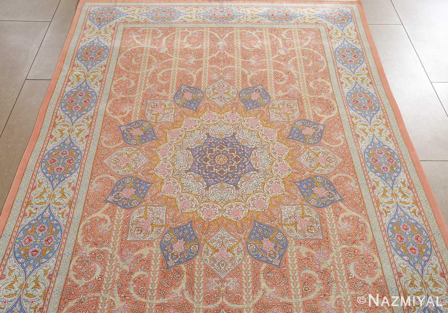 fine silk mirmehdi vintage qom persian rug 51043 field Nazmiyal