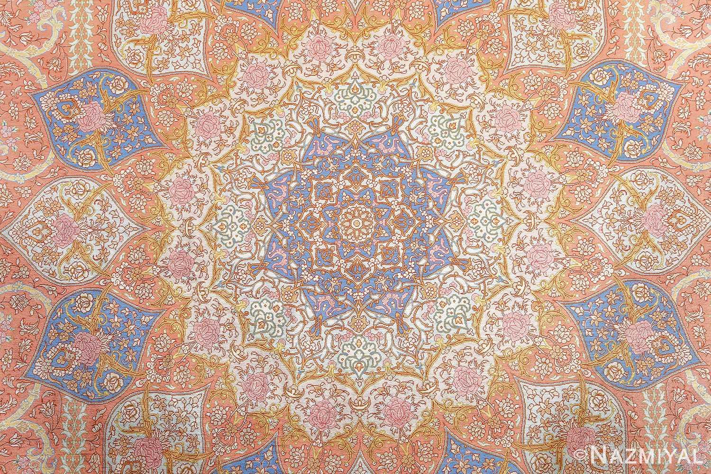 fine silk mirmehdi vintage qom persian rug 51043 medallion Nazmiyal