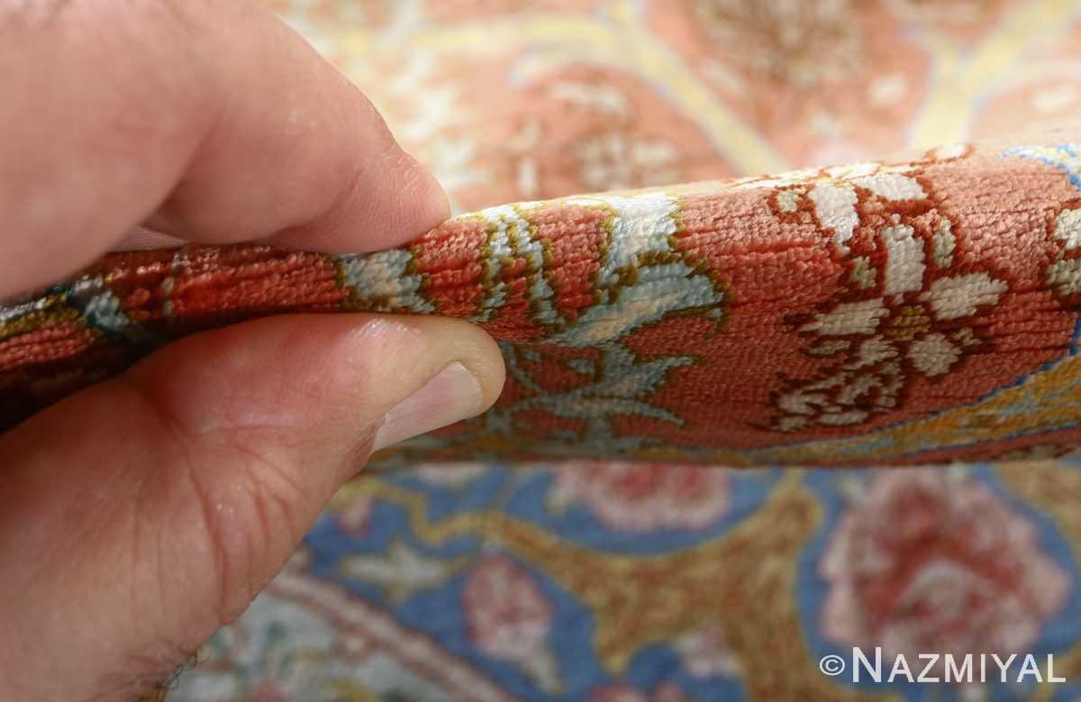 fine silk mirmehdi vintage qom persian rug 51043 pile Nazmiyal