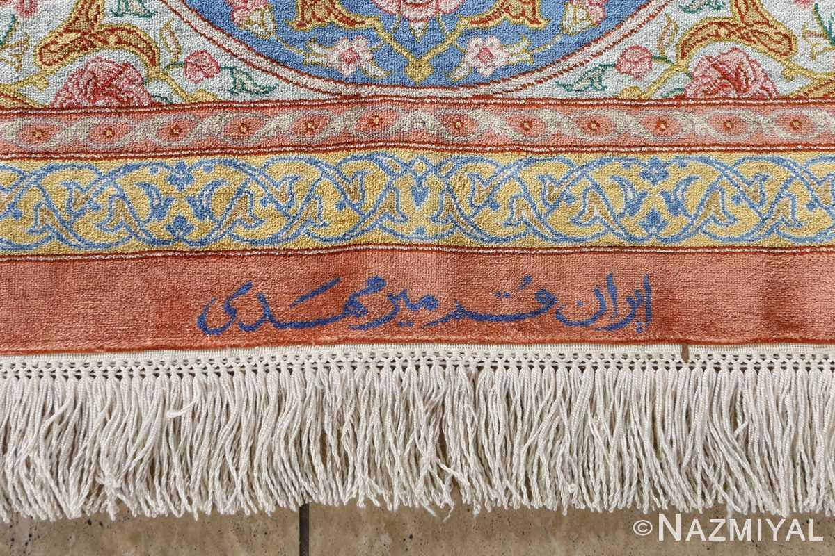 fine silk mirmehdi vintage qom persian rug 51043 signature Nazmiyal
