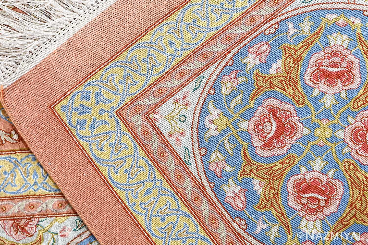 fine silk mirmehdi vintage qom persian rug 51043 weave Nazmiyal