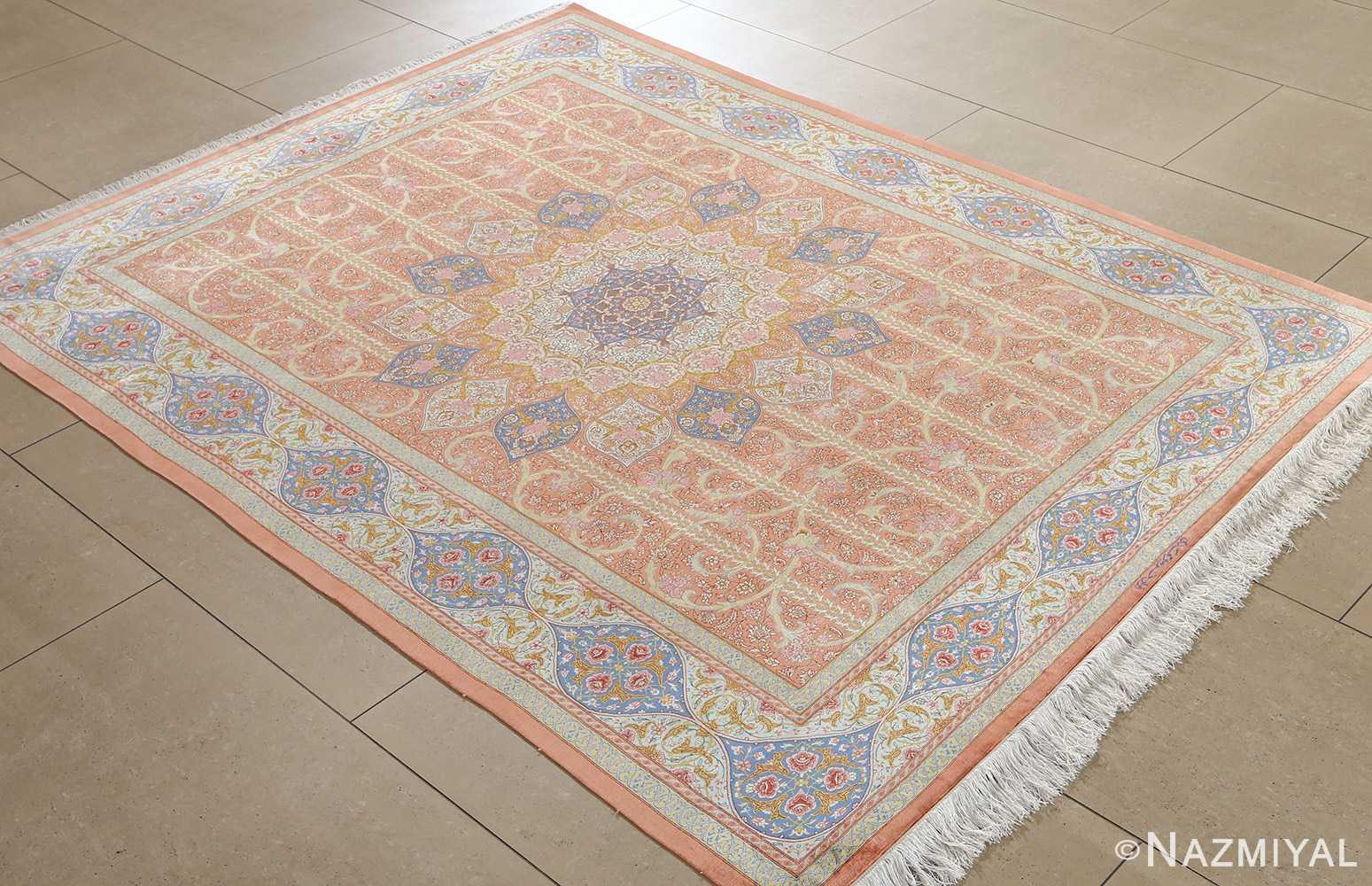 fine silk mirmehdi vintage qom persian rug 51043 whole Nazmiyal