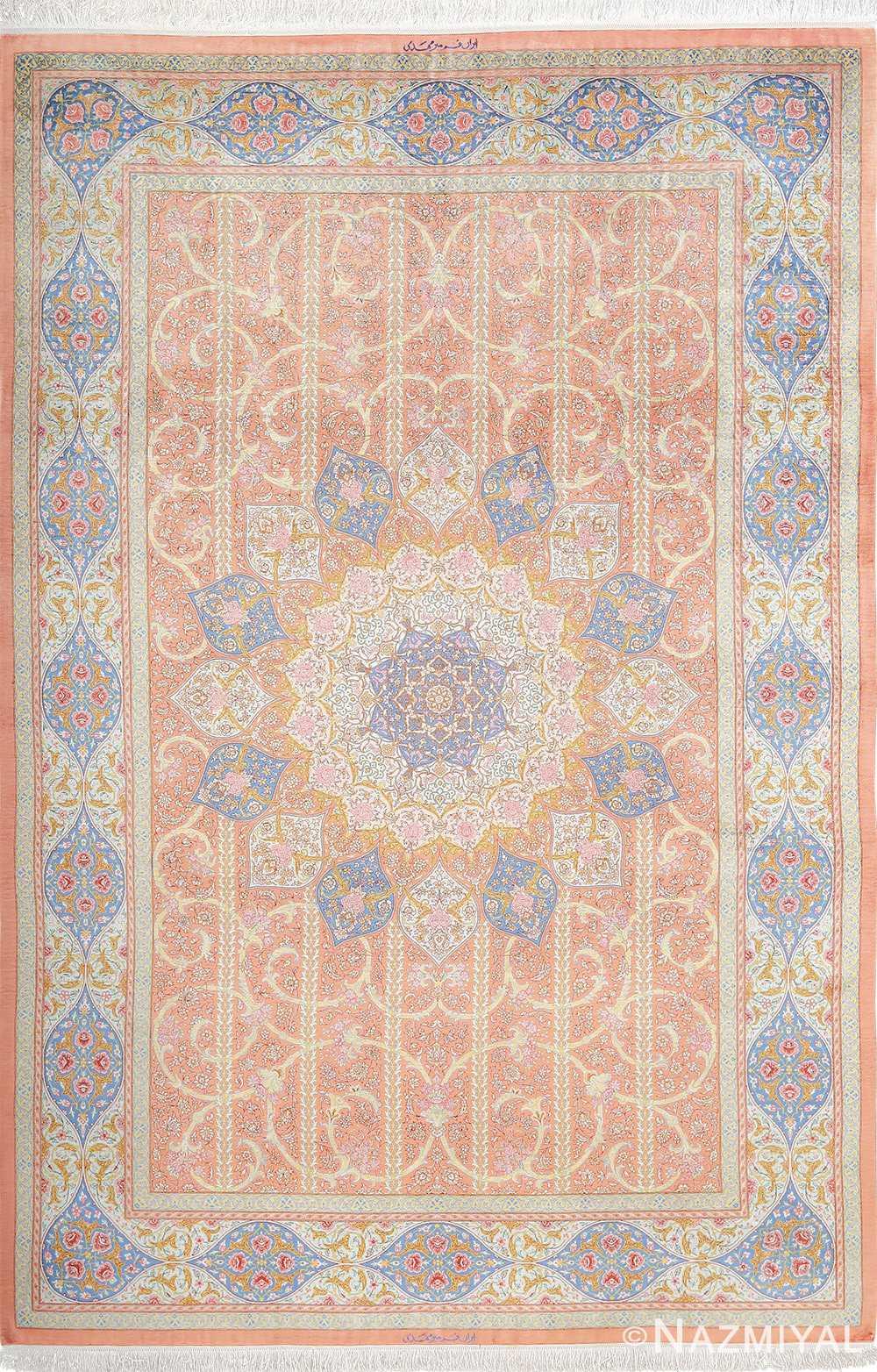 fine silk mirmehdi vintage qom persian rug 51043 nazmiyal