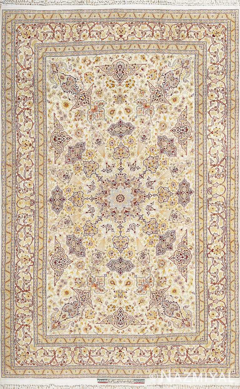 fine vintage silk foundation isfahan persian rug 51003 Nazmiyal