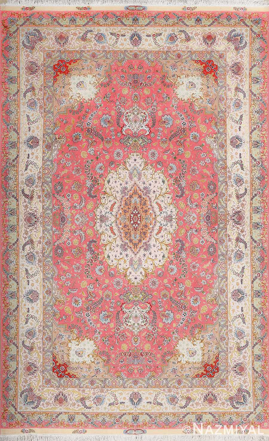 fine wool and silk design by khaljan vintage tabriz persian rug 51005 Nazmiyal