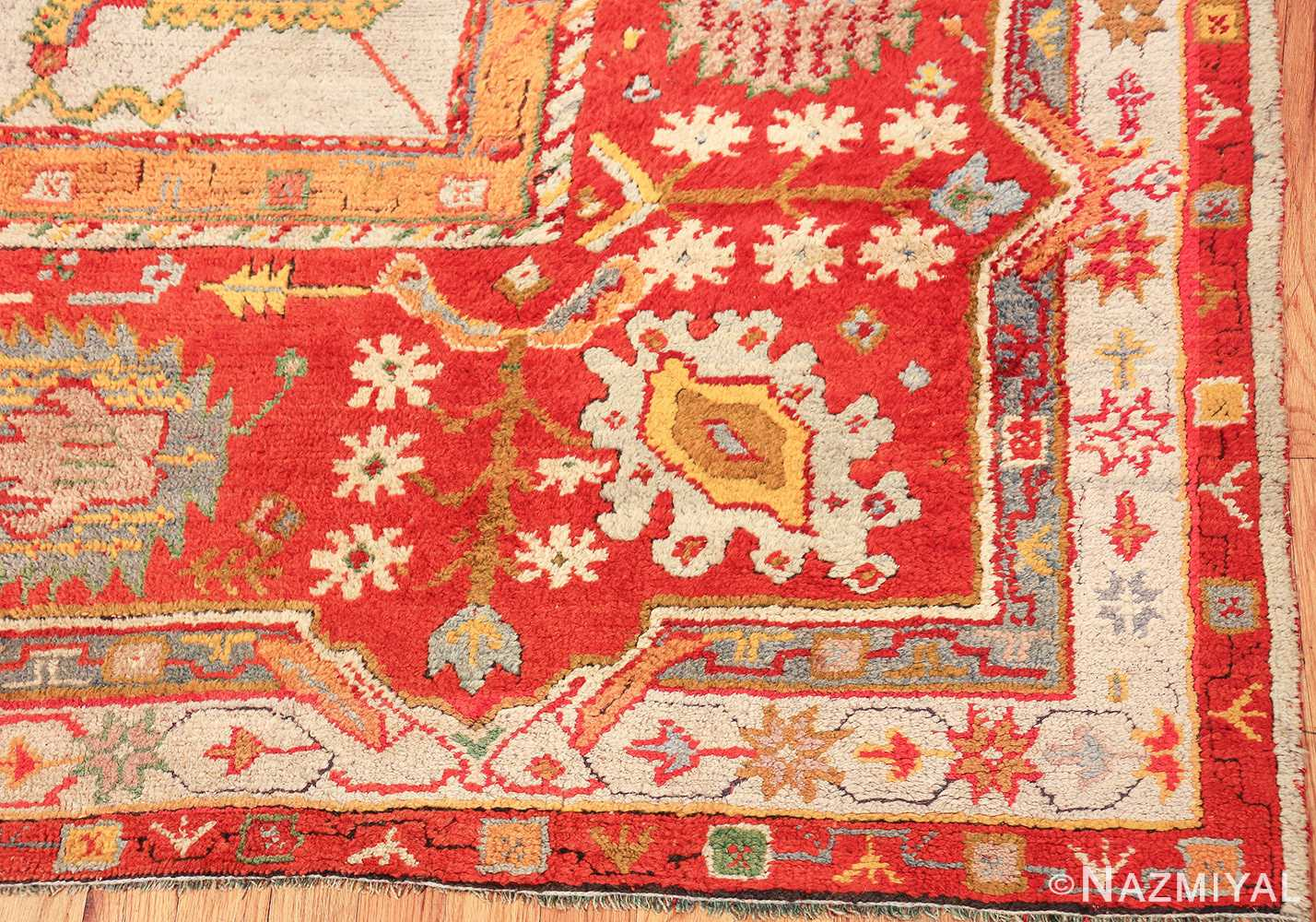 large antique arts and crafts turkish oushak rug 49144 corner Nazmiyal