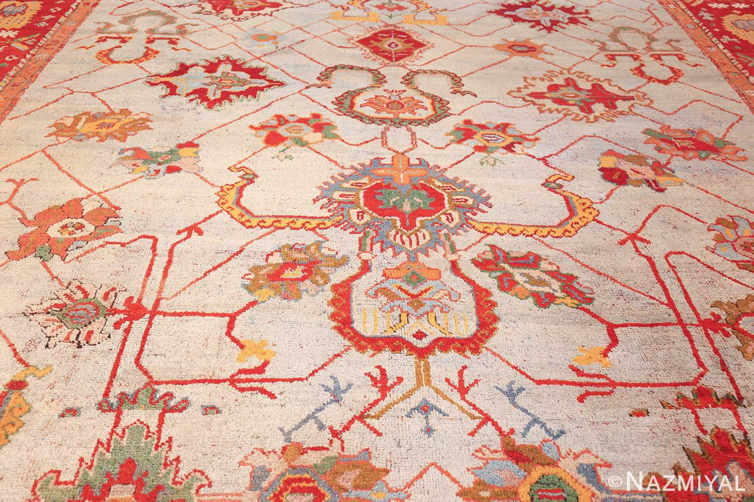 large antique arts and crafts turkish oushak rug 49144 field edited Nazmiyal