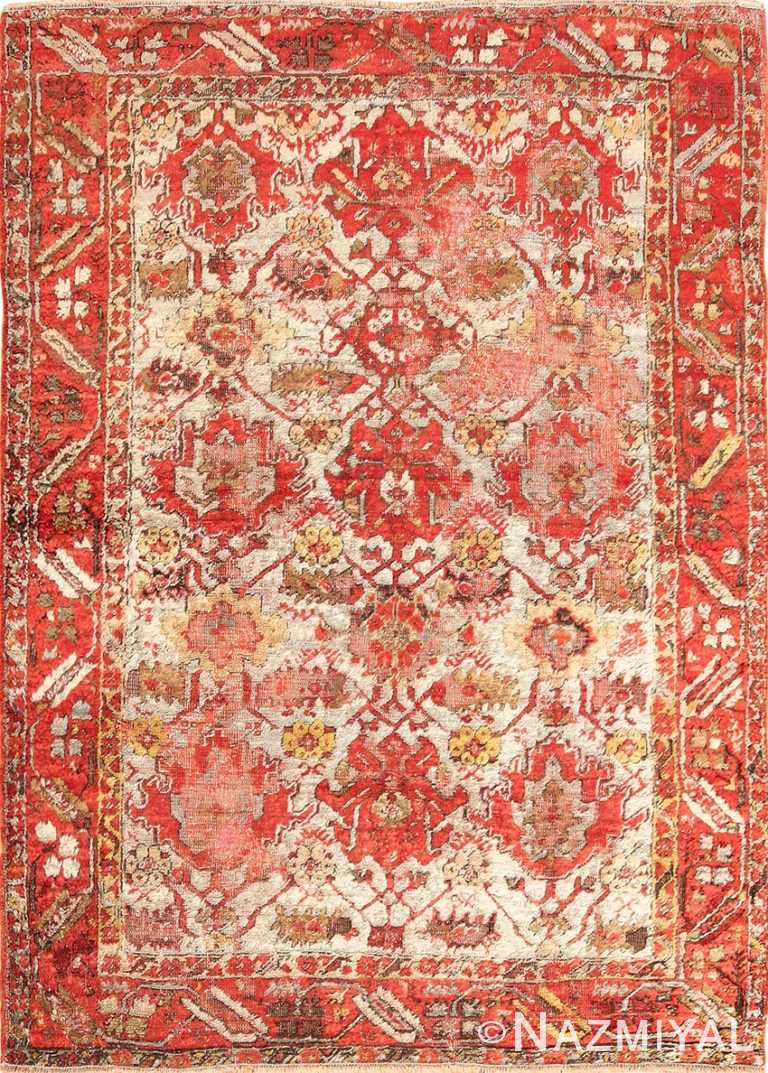 shabby chic antique turkish angora oushak rug 48183 Nazmiyal