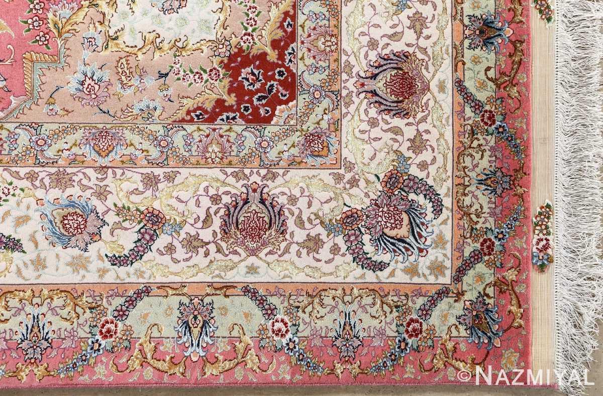 vintage fine wool and silk benam design tabriz persian rug 51005 nazmiyal corner