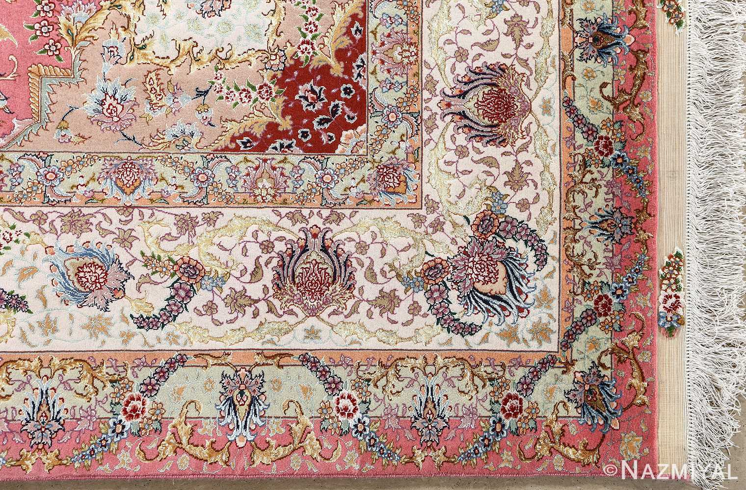vintage fine wool and silk benam design tabriz persian rug 51005 nazmiyal corner