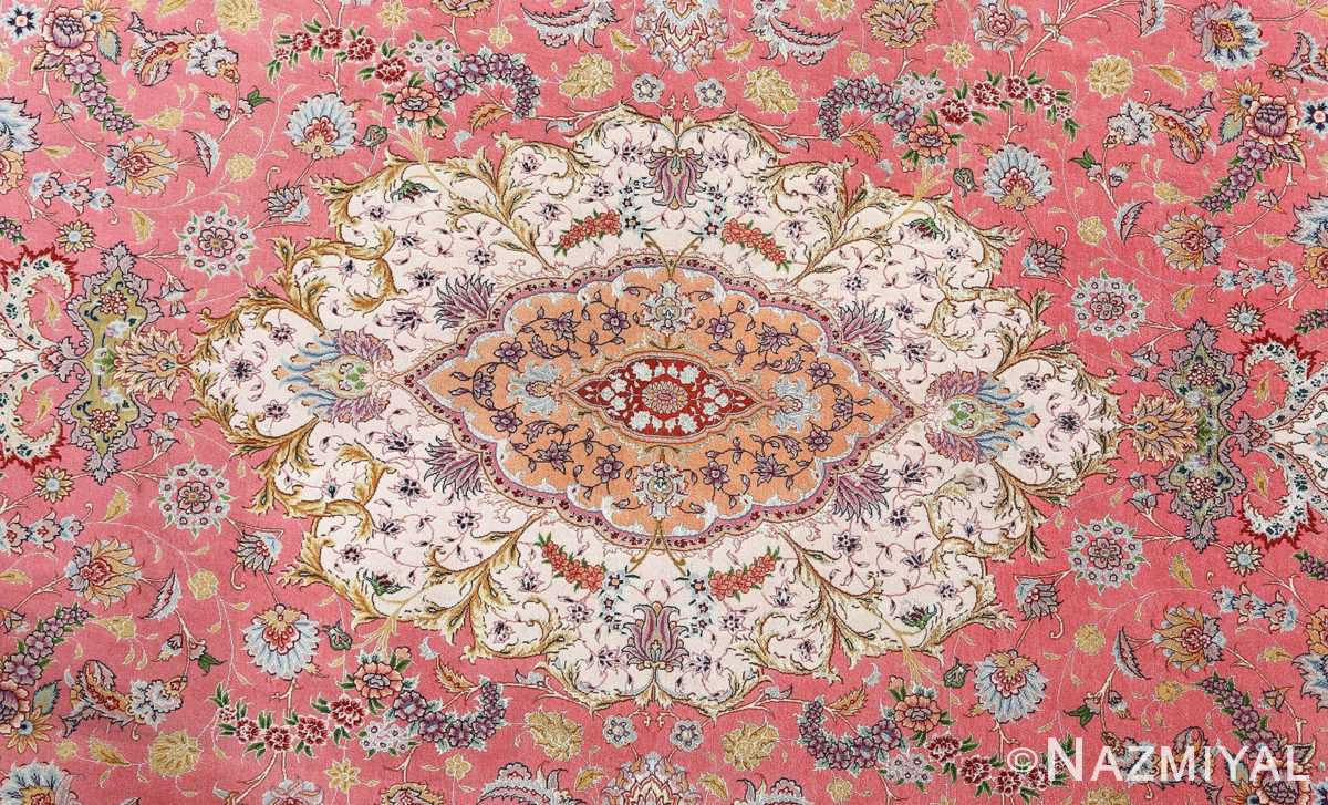 vintage fine wool and silk benam design tabriz persian rug 51005 nazmiyal medallion