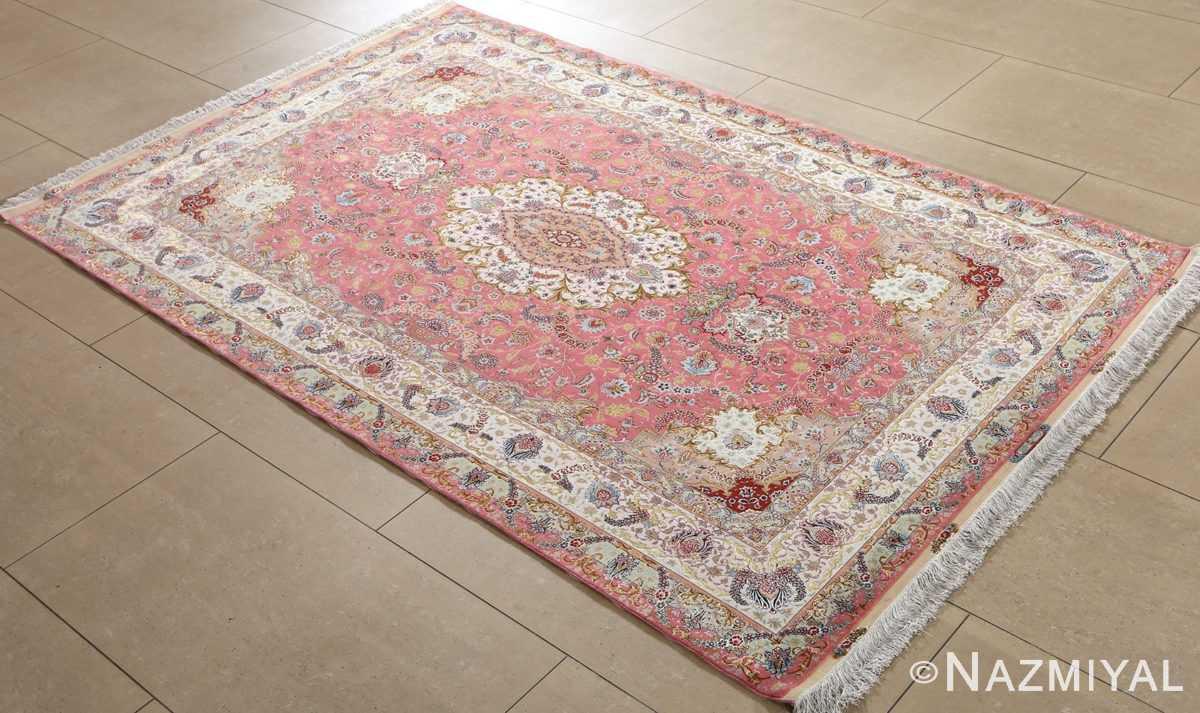 vintage fine wool and silk benam design tabriz persian rug 51005 nazmiyal side