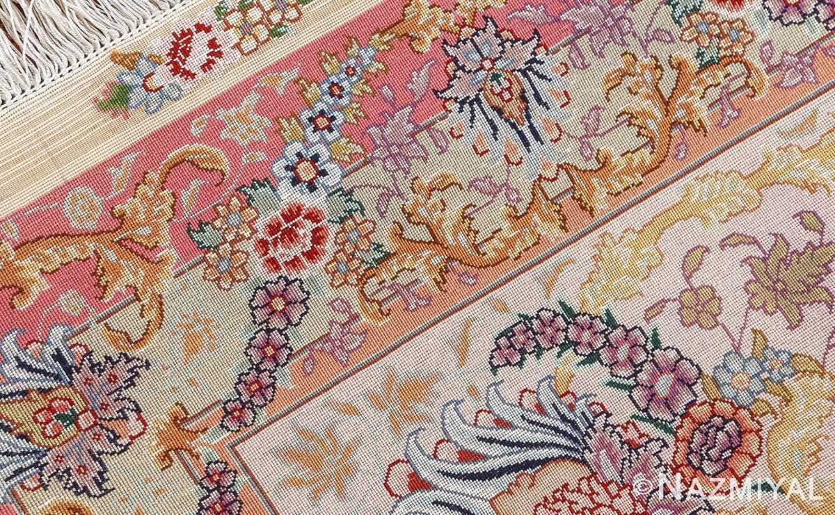 vintage fine wool and silk benam design tabriz persian rug 51005 nazmiyal weave