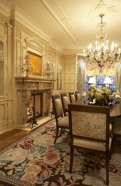 Interiors With Antique Rugs - Dining in Luxury: Antique Aubusson Rug, Nazmiyal