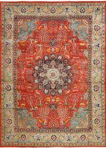 fine animal motif vintage tabriz persian rug 61064 Nazmiyal