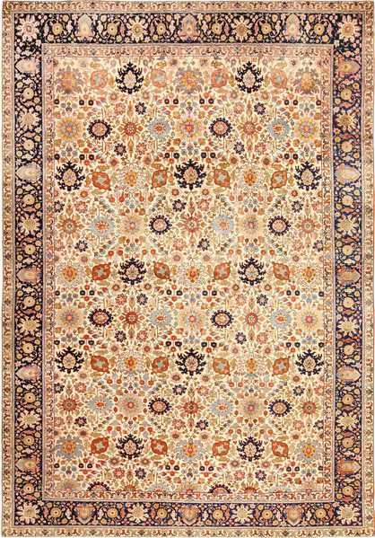 Fine Antique Ivory Background Persian Tabriz Rug, Nazmiyal
