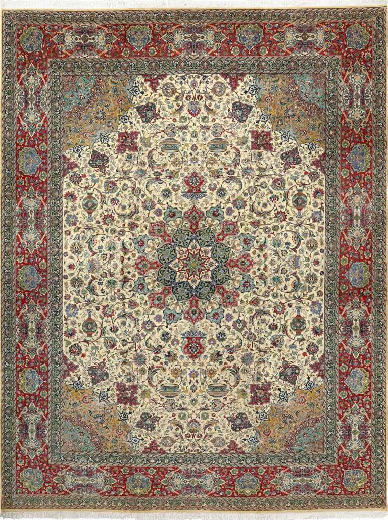 fine ivory background vintage tabriz persian rug 51039 Nazmiyal