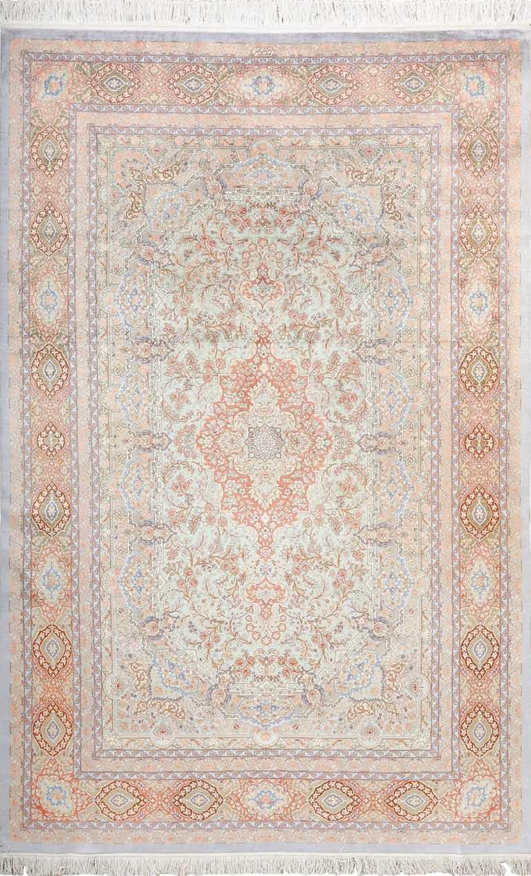 fine silk vintage qum persian rug 51052 Nazmiyal