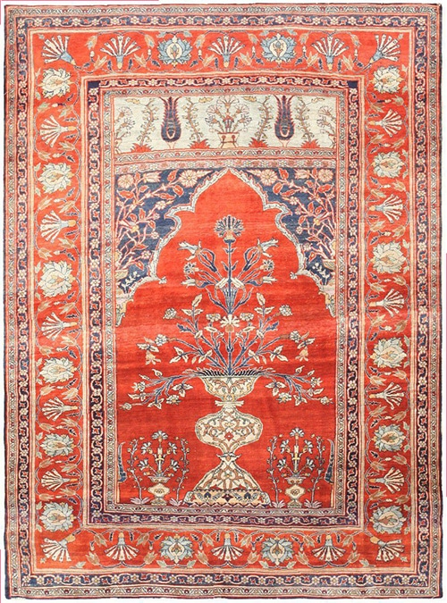 Antique Persian Prayer Rug Design Nazmiyal