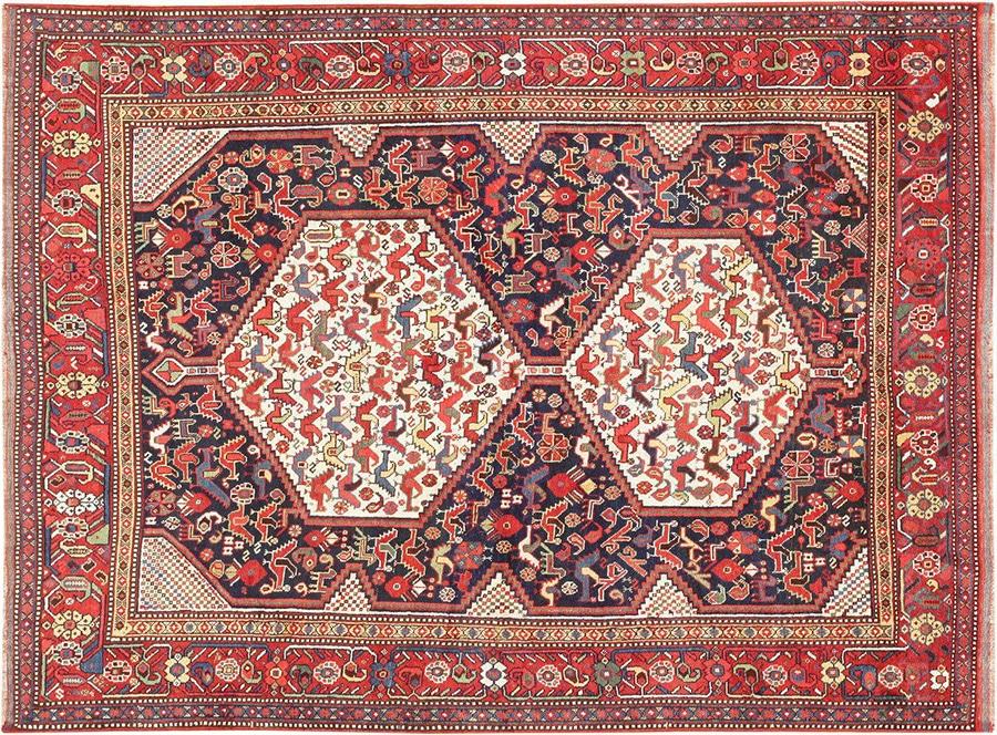 Antique Geometric Animal Design Persian Afshar Rug