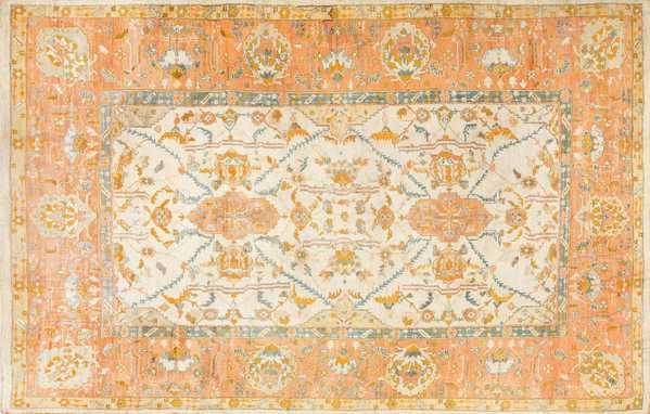 Large Ivory Background Turkish Antique Oushak Rug, Nazmiyal