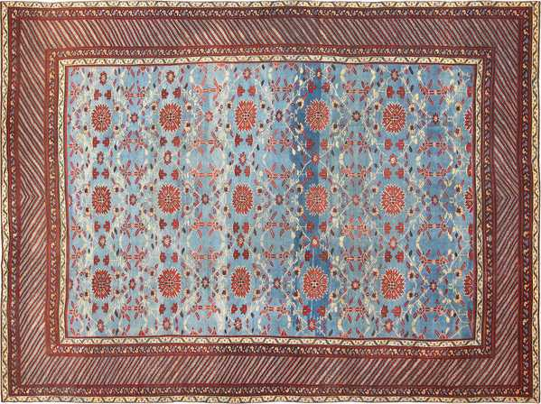 Light Blue Room Size Antique Indian Rug, Nazmiyal