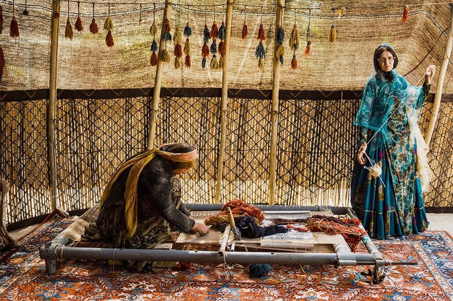 Persian Rug Weavers Weaving a Village Carpet Nazmiyal