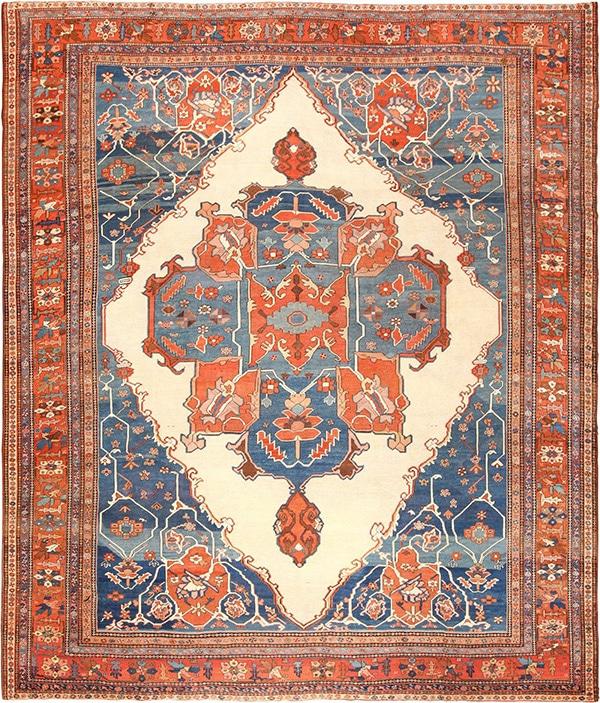 Antique Persian Village Heriz Serapi Bakshaish Rugs by Nazmiyal